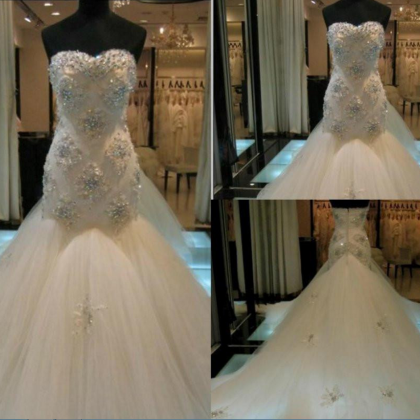 Strapless Sweetheart Beaded Tulle M..