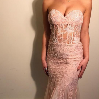 Sheer Bodice Prom Dress, Mermaid Lo..