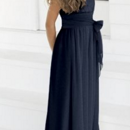 Navy Blue Prom Dress,Simple Flower ..