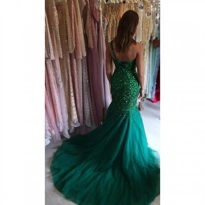 Green One Shoulder Mermaid Prom Dre..