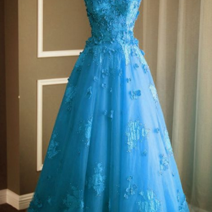 Ice Blue Prom Dress,Sweetheart Prom..