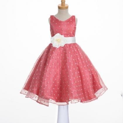 Organza Coral Flower Girl Dress, We..