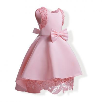2018 pink high low flower girl dres..