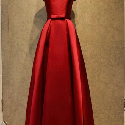 Wine Red Satin Simple Floor Length..