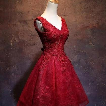 Wine Red Short Lace Cute Homecoming..