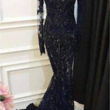 High Neck Prom Dresses with Long Sl..