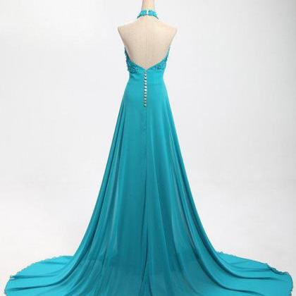 New Green Appliques Long Prom Dress..