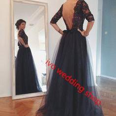 Black Prom Dresses,Backless Long Pr..