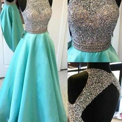 Cap Sleeves Long A-line Teal Prom D..