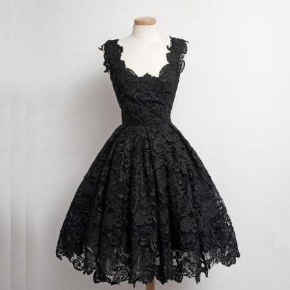 real beautiful black lace short prom dressessimple