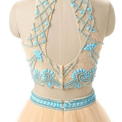 Two Piece High Neck Beaded Bodice P..