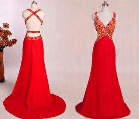 Red Backless Dress, ..