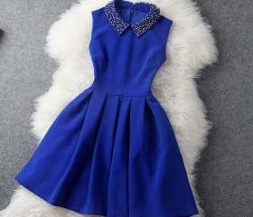 Blue Dress With Coll..