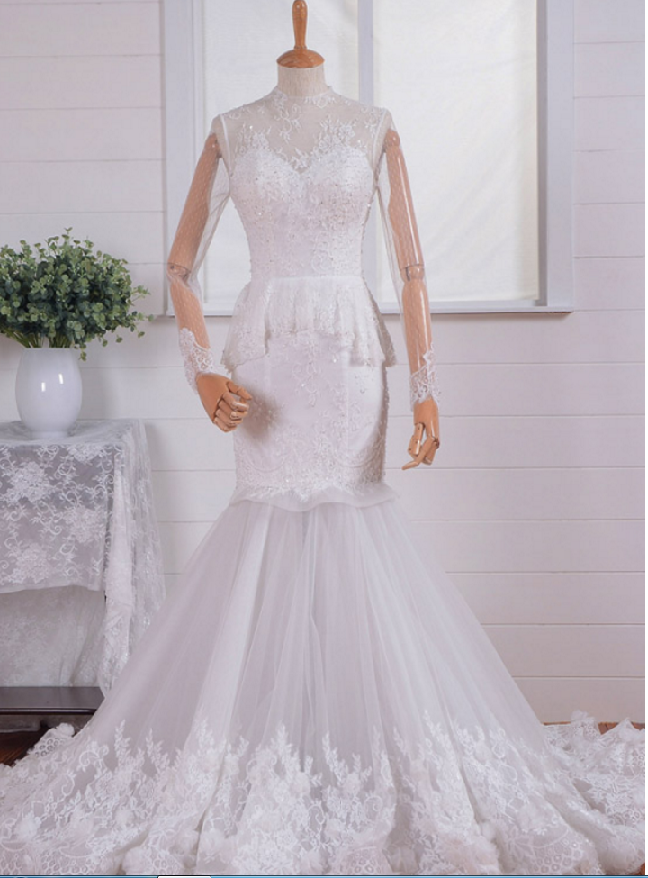 Sexy Long Sleeve High Neck Open Back Mermaid Lace Tulle Beach