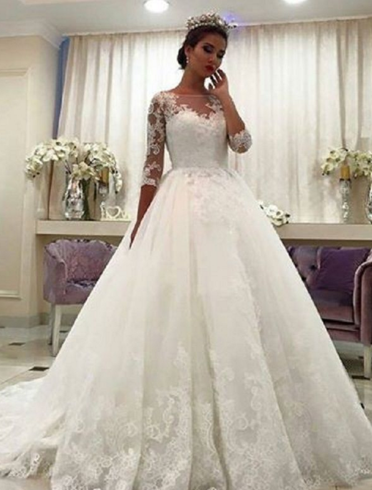 Gorgeous Ball Gown Wedding Dresses, Puffy Lace Beaded Applique White ...
