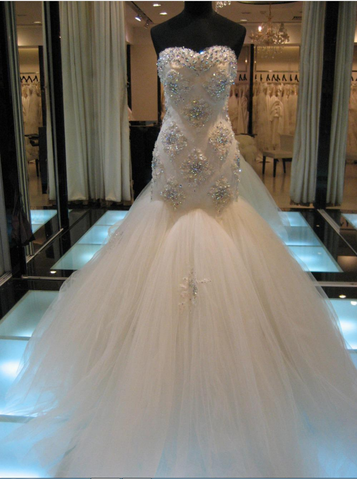 Strapless Sweetheart Beaded Tulle Mermaid Wedding Dress with Long Train