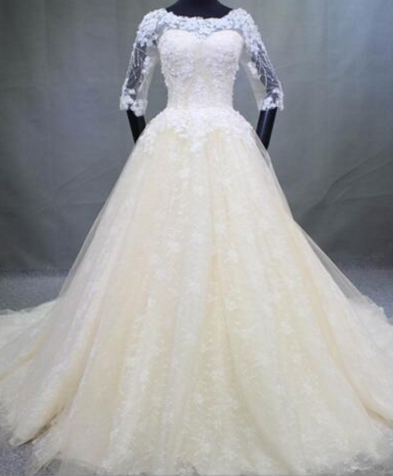 Real Photo Sheer Neckline Chapel Train Wedding Dress Illusion ...