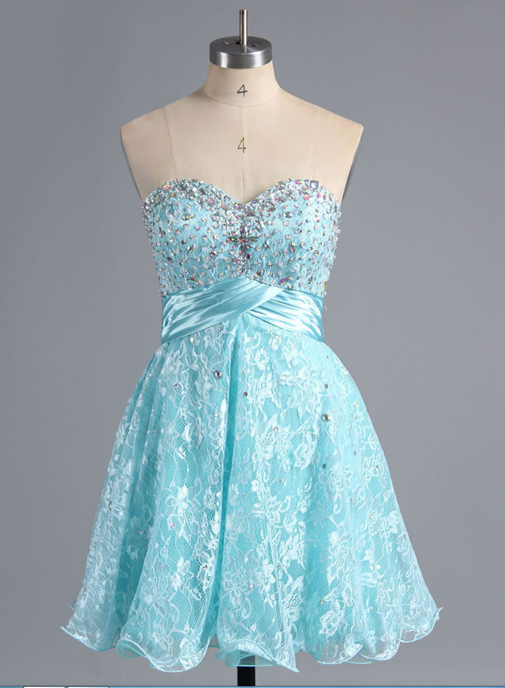 Cheap homecoming dresses ,Sweet Ice Blue Lace Homecoming Dress, Exquisite Sweetheart Short Homecoming Dress, Princess Empire Homecoming Dress with Crystal and Beads,