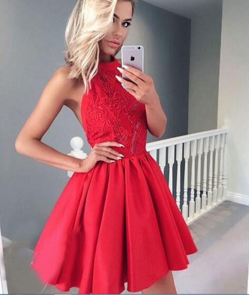 550d362794 A-Line Jewel Backless Red Homecoming Dress With Appliques