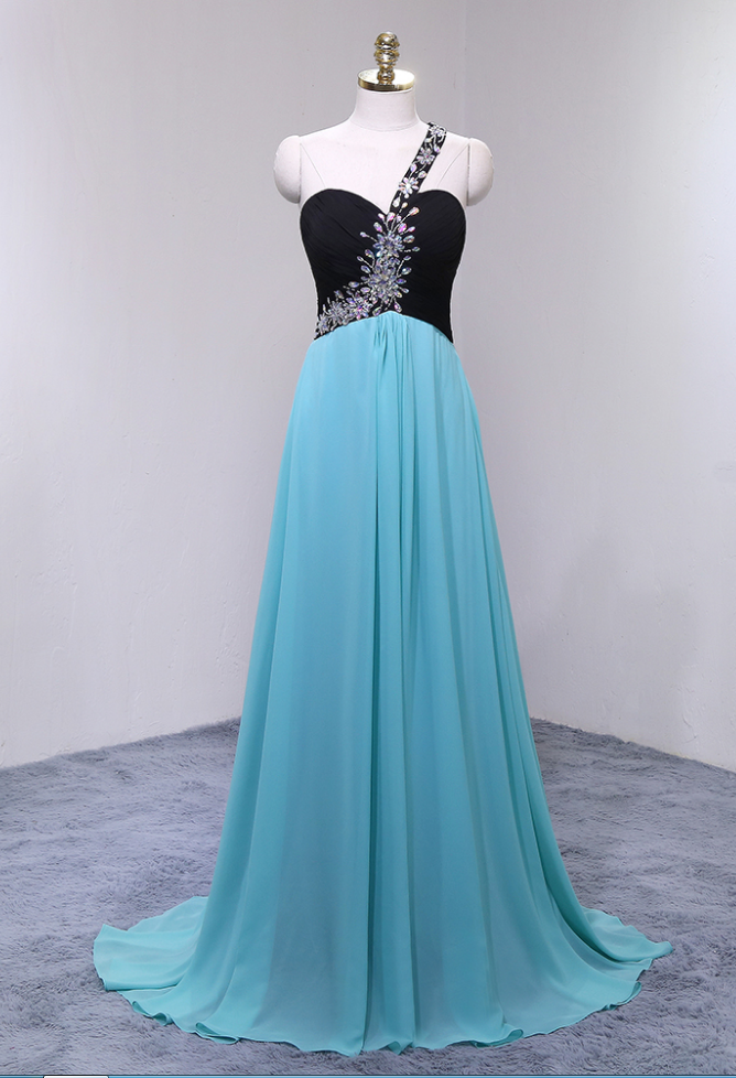 Charming Long Chiffon Prom Dresses Featuring Sweetheart Neckline And One Shoulder -- Long Elegant Beaded Formal Dress, Party Dresses