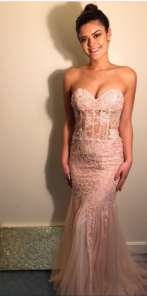 Sheer Bodice Prom Dress, Mermaid Long Prom Dress, Pearls Appliques Sweetheart Party Dress