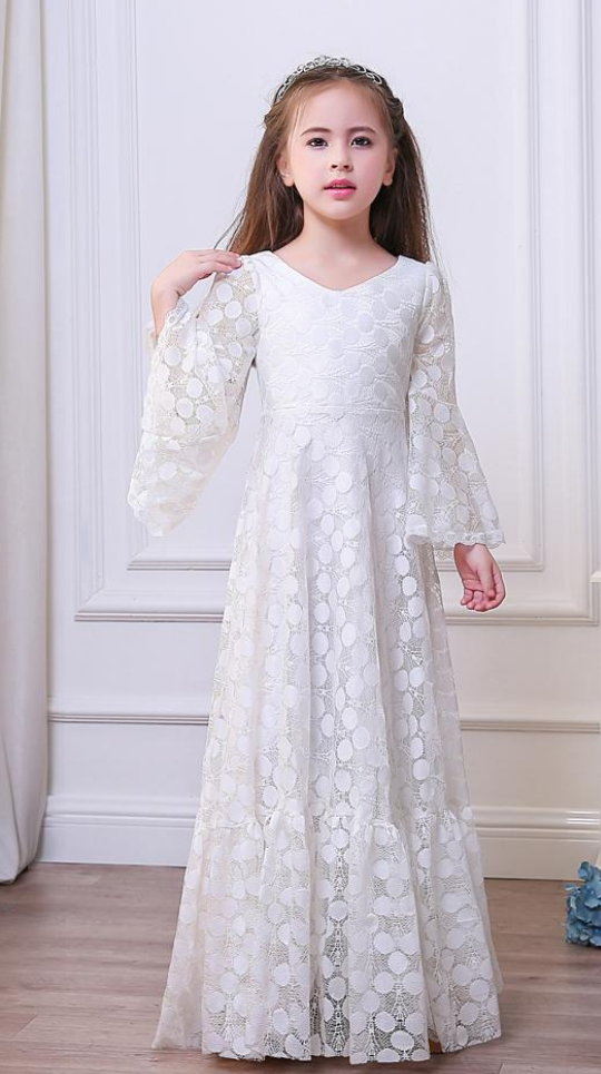d8b21bba00e35 Custom Made White Long Trumpet Sleeve Lace A-Line Evening Dress, Kids  Clothing, Party Frock, Flower Girl Dresses, First Holy Communion Dresses,  ...