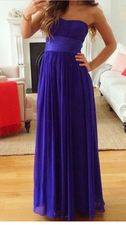 Dark Purple Chiffon Prom Dresses , Simple Bridesmaid Dresses, Formal Gowns