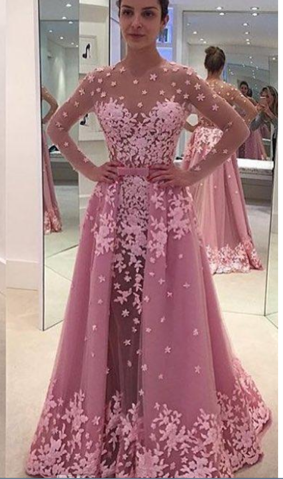 Pink Vintage Lace Overskirt Evening Dresses A Line Illusion Long ...