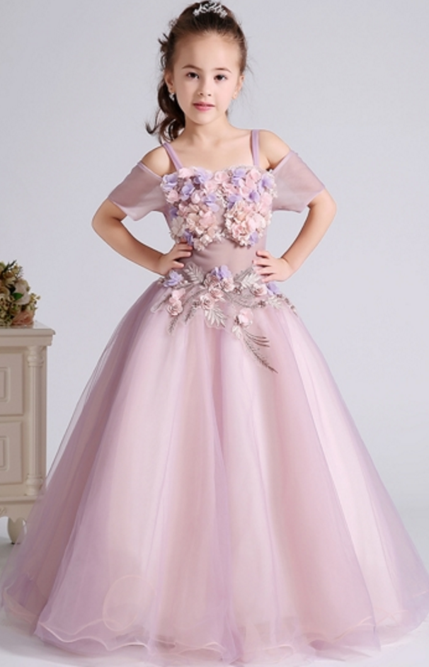 d34583c1325c0 Custom Made Pink 3D Floral Applique Cold-Shoulder Floor-Length Evening Dress,  Kids Clothing, Party Frock, Flower Girl Dresses, First Holy Communion  Dresses, ...