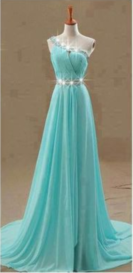 Sexy Prom Dress, One Shoulder Prom Dresses,Blue Prom Dress,Chiffon Prom Dresses,Formal Dress