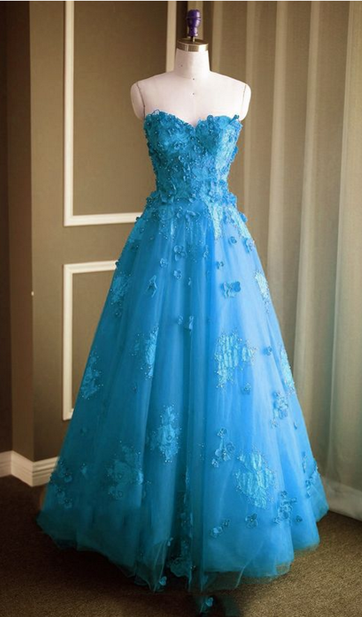 Ice Blue Prom Dress,Sweetheart Prom Dress,Tulle Evening Gowns,Long Bridesmaid Dress,Prom Dresses