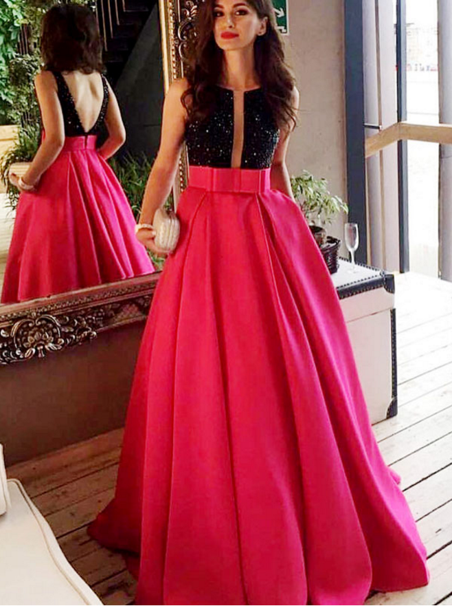 fc37b26dd79e Hot Pink and Black Prom Dress, Beaded Prom Dress, A Line Prom Dress, Satin Prom  Dress, Prom Dresses , Vestido De Festa, Elegant Prom Dress,