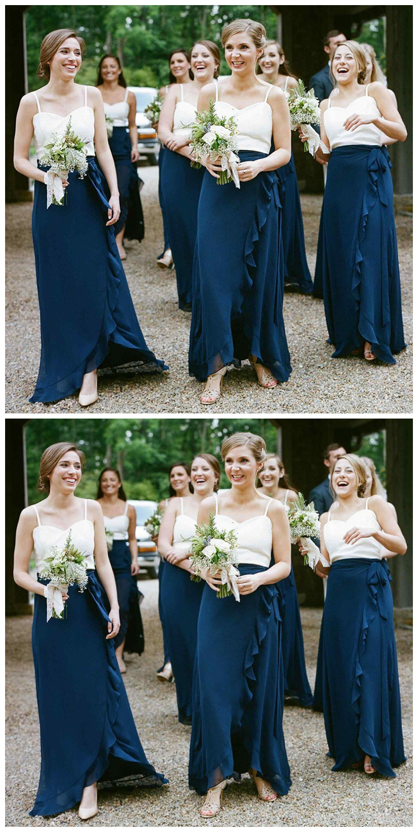 0b79f02da64 A-Line Spaghetti Straps Dark Blue Chiffon Bridesmaid Dress with Ruffles