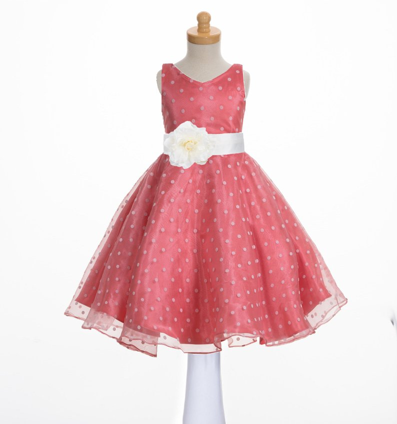 Organza Coral Flower Girl Dress, Wedding Bridesmaid Dresses, First Communion Dresses