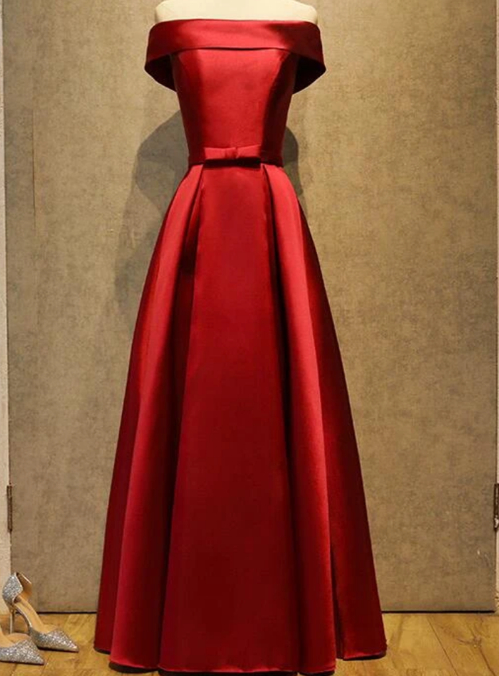 Wine Red Satin Simple Floor Length Bridesmaid Dress, Prom Dress