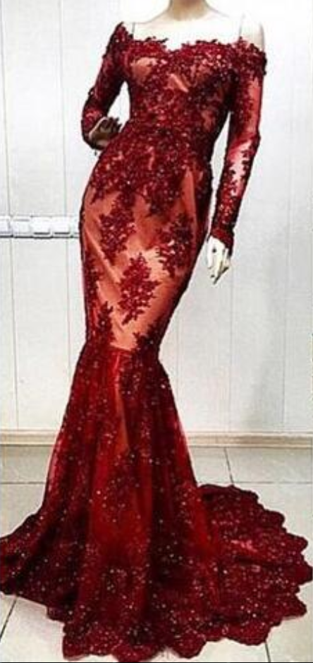 Dark Red Lace Mermaid Evening Dresses Robe de Soiree 2018 Custom Made Floor Length Long Sleeve Formal Evening Dress Women Gowns
