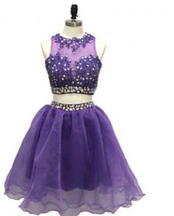Grape Homecoming Dress, 2 Piece Homecoming Dresses, Beading Homecoming Gowns ,Short Prom Gown, Modest Sweet 16 Dress, Lace Homecoming Dress ,2 Pieces Cocktail Dress ,Two Pieces Evening Gowns
