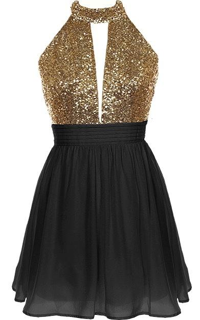 Short Black Chiffon Party Dress Featuring Gold Sequin Halter Neck Bodice  with Cutout Detailing 25bfa43ed