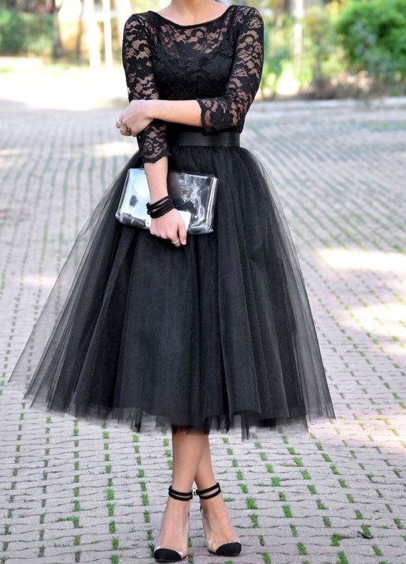 Long Sleeve Lace Black Prom Dress Tulle Prom Dress Mid Calf Prom
