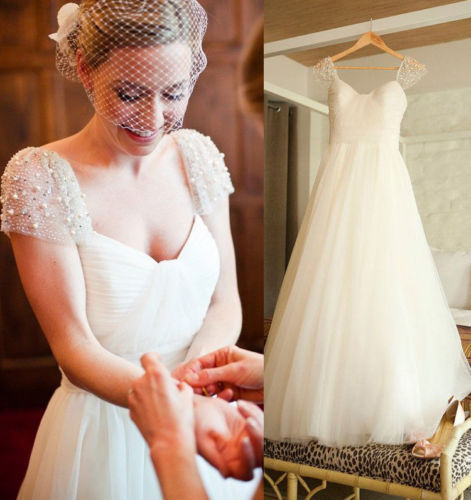 White Ivory Tulle Wedding Dresses Long Cap Sleeve Pearls Custom Made Gowns