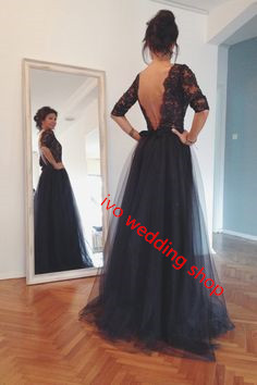 Black Prom Dresses,Backless Long Prom Dresses,Tulle Formal Dress,Prom Gowns With Lace,Half Sleeves Prom Gown