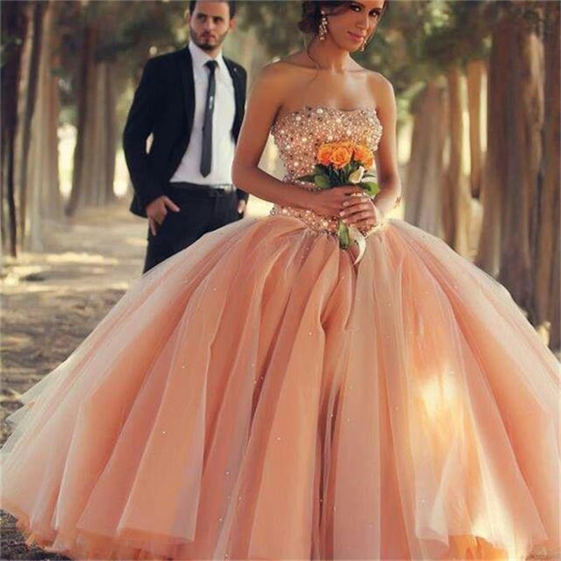 b48ada7990e New 2016 Charming Peach Color Cheap Quinceanera Dresses For 15 Year Ball  Gown Luxury Crystal Top Party Debutante Wedding Gowns