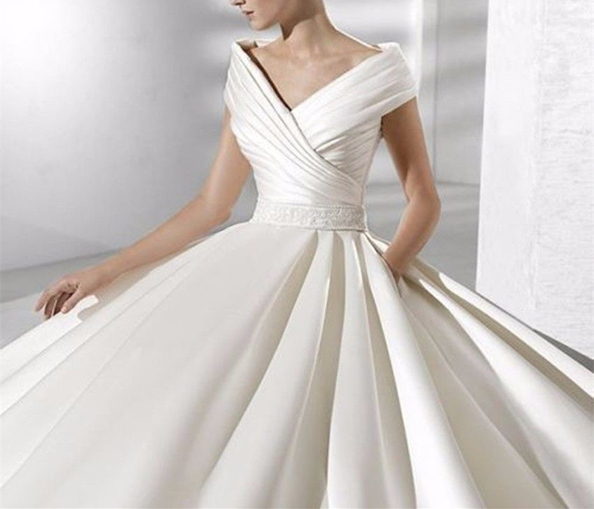 Ivory White Elegant V Neck Satin Wedding Dress Bridal Gown Size 4 6 8 10 12 14