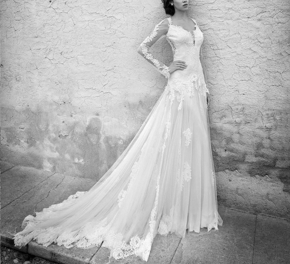 Sexy Vintage Lace Long Sleeves Wedding Dress Bridal Gown