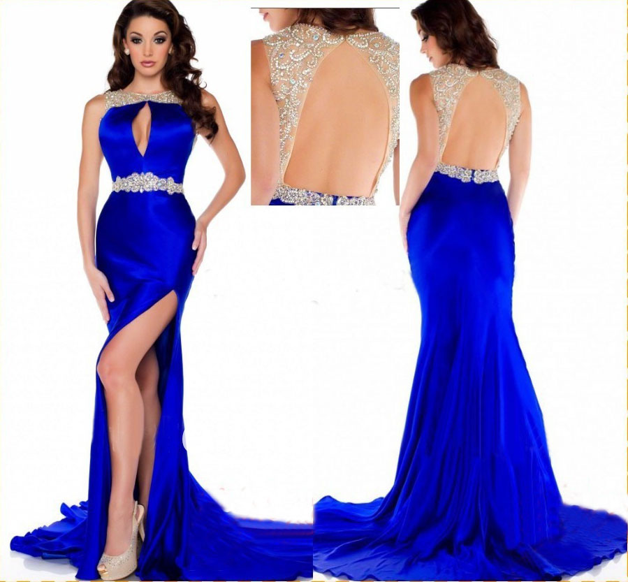 Royal Blue Prom Dressmermaid Prom Dresssatin Prom Gownbackless