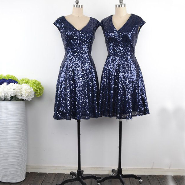 Sequin Bridesmaid Dress Short Gown Sequined Gowns Sequins Dresses