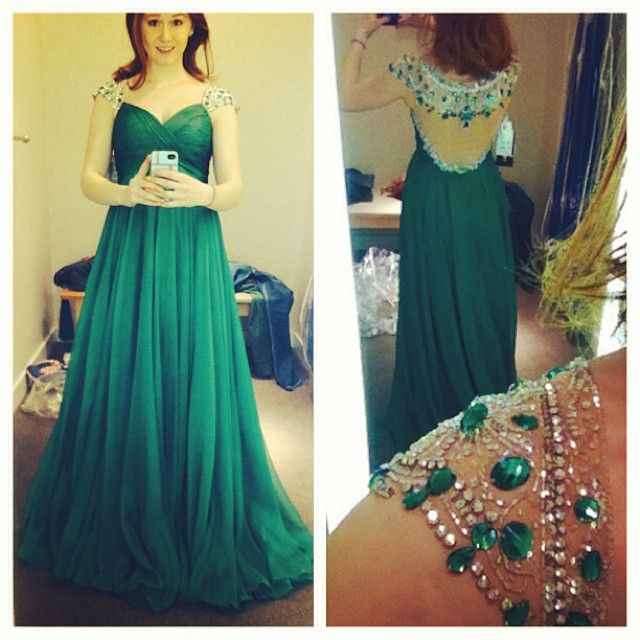 Green Prom Dressesluxury Evening Gownsmodest Formal Dressbeaded