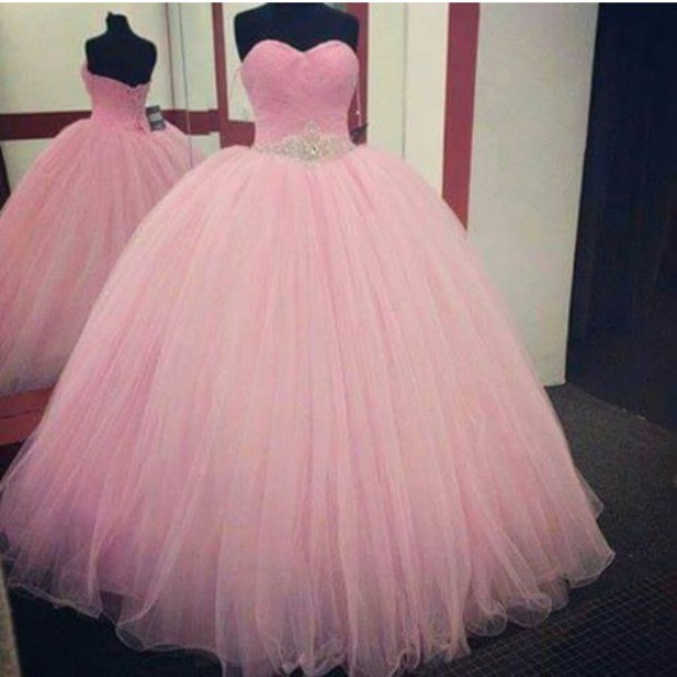 Pink Prom Dressball Gown Prom Dressprincess Prom Gownbeaded Prom