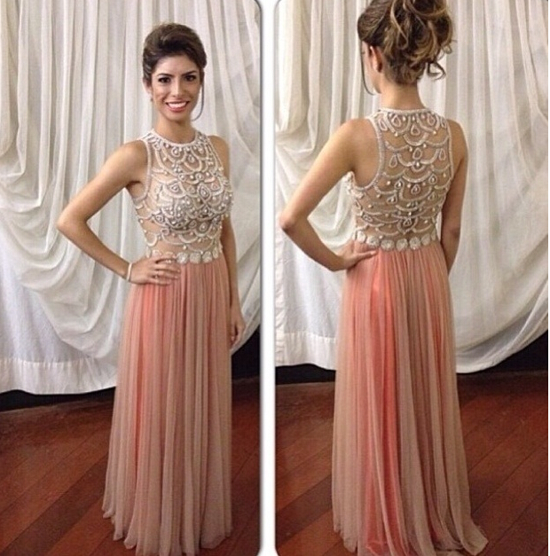 Blush Pink Prom Dresses,Sparkle Prom Gowns,Pink Prom Dresses, Party ...