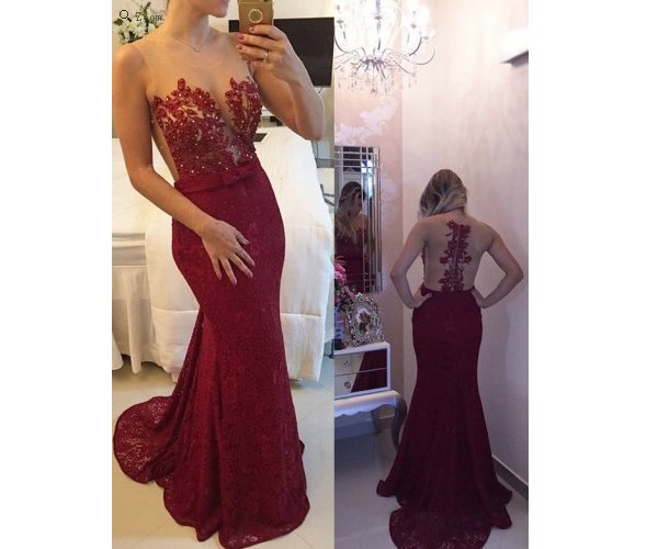 Burgundy Prom Dresses,Backless Prom Dress,Lace Prom Dress,Wine Red ...